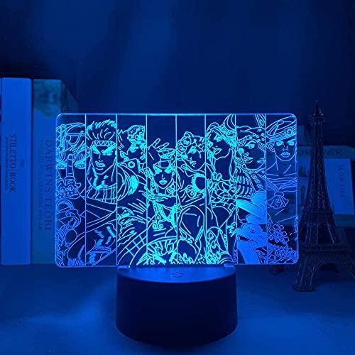 Lámpara de ilusión 3D, luz de noche Led, Anime Jojo, aventura singular, dormitorio, mesita de noche, decoración para niños, regalos de cumpleaños