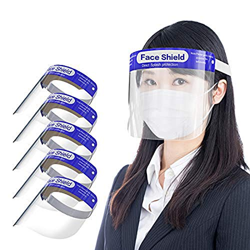 TSUNEO フェイスガード防災面 スプラッシュシールド 顔面保護 フェイスシールド 曇り止め 透明 目を保護 軽量 通気性 安全 作業 用 簡単装着 飛沫防止 花粉症対策 (5枚)