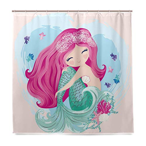 Shower Curtain for Girls with Little Cute Mermaid with Fishes and Seashells Pattern Polyester Waterproof Long Cloth Shower Curtains Set for Bathroom Decor Fabric with 12 Plastic Hooks 60x72 Inch