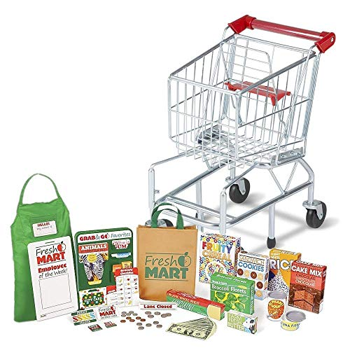 Melissa & Doug Bundle Includes 2 Items Toy Shopping Cart with Sturdy Metal Frame and Melissa amp; Doug Fresh Mart Grocery Store Food and Role Play Set 70+ Pcs Toy