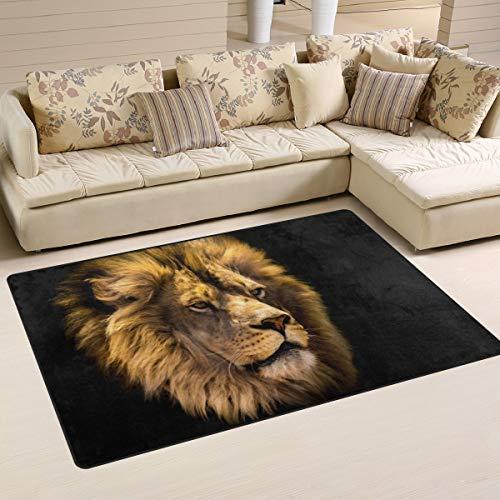 Use7 Tapis antidérapant pour salon/chambre à coucher d'enfant Motif tête de lion africain, Tissu, multicolore, 100 x 150 cm(3