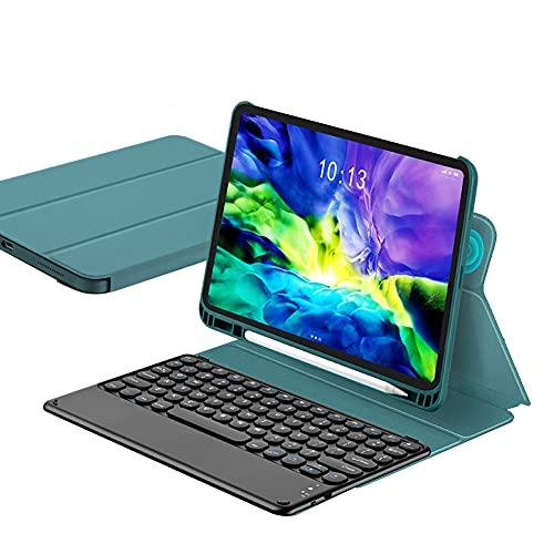 ktong Estuche con Teclado para iPad Air4 10.9', Estuche para Teclado inalámbrico Desmontable con portalápices, Cubierta Protectora Delgada para Tableta,Azul