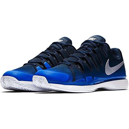 Nike Men's Zoom Vapor 9.5 Tour Tennis Shoe (12 D(M) US, Midnight Navy/Metallic Silver)