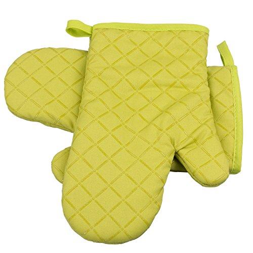 ZeWoo 1 Paar Ofenhandschuhe Baumwolle Anti-Rutsch Küche Backofen Handschuhe Hitzebeständig Topfhandschuhe Topflappen Für Kochen Backen Barbecue, Grün