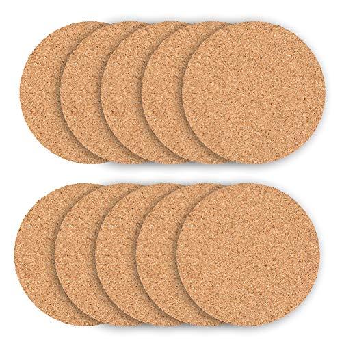 Posavasos de corcho para taza de té de madera, con aislamiento redondo, reutilizable, absorbente, 10 unidades