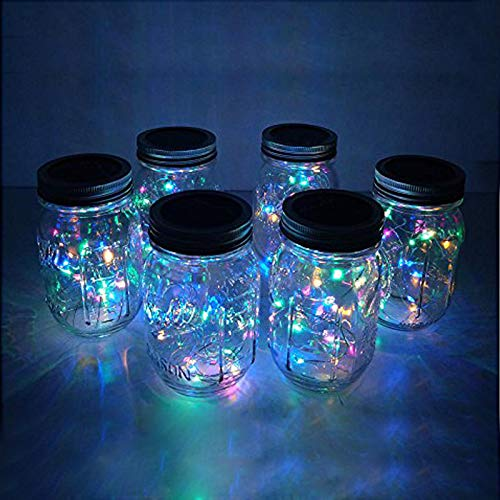 6 Pack Mason Jar Lights 20 LED Solar Colorful (4 Colors) Fairy String Lights Lids Insert for Patio Yard Garden Party Wedding Christmas Decorative Lighting Fit for Regular Mouth Jars(Jars Not Included)