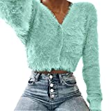 Women V-Neck Long Sleeve Furry Casual Sweater Crop Popular Women Tops Green XL
