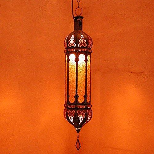 Casa Moro | Lámpara oriental Dunya Yellow H58 cm de metal y cristal en relieve | Artesanía de Marrakech | Espléndida lámpara colgante para espectáculos de luz como de 1001 noches | L1247