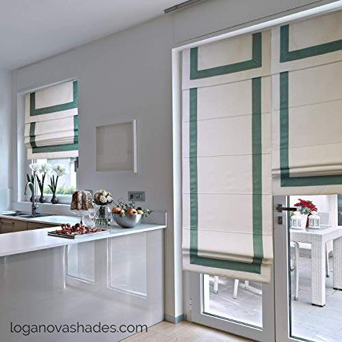 LOGANOVA Luxury Roman Shades With Valance For French Doors & All Windows. Custom Made To Your Dimensions. Optional Blackout Lining Blocks 99.9% Of Light. Cordless Motorized Or Chain Mechanism.