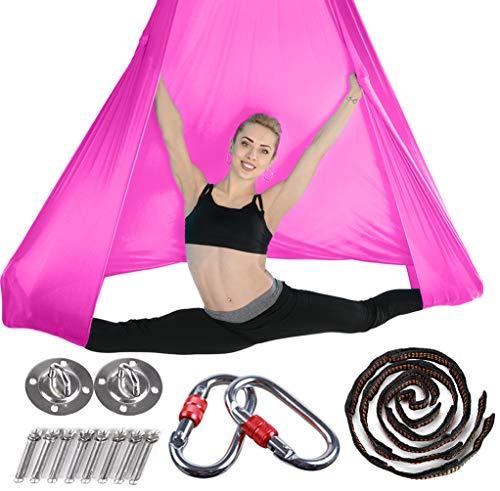 Brinny Yoga DIY Silk Pilates Premium Aerial Silks Equipment Aerial Yoga Tuch Aerial Silk elastische Yoga Hängematte mit Stoff Zubehör 5 Meter Rosa