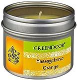 Greendoor Natur Massagekerze Orange vegan 100ml, BIO Sojawachs, BIO Babassu, natur-reines...