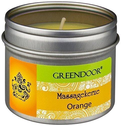 NUOVO Greendoor massaggio candela arancione, vegano biologico 100 ml - cera di soia naturale & olio di babassu organico, naturale puro olio di arancio-, cacciato non, nessuna