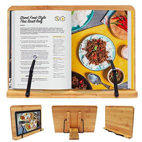 Bamboe Boeken Houder met Ondersteunende Armen - Maat 33.5 x 24cm – Kookboek Houder met 5 Aanpasbare Instellingen – Lezen Studeren Rust Houder Voor Recepten Boeken, Muziek Noten, Tablet en Ipad