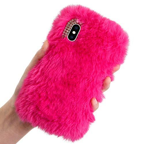 Plüsch Hülle Samsung Galaxy A6 2018 Flauschige Hasen Fell Hülle Handyhülle Für Mädchen Süße Winter Warm Weich Kaninchen Pelz Niedlich Hase Handytasche Schützend Stoßfest TPU Silikonhülle-Rose Rot