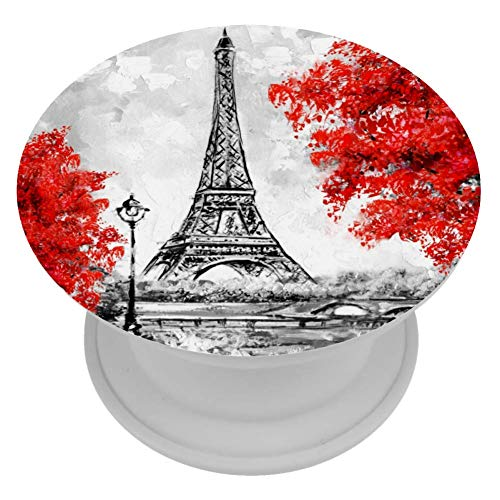 Travel Cell Phone Holder Pop Out Phone Popper Grip Stand Oil Painting Eiffel Tower