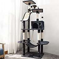 P PURLOVE Cat Tree with Scratching Posts, 170cm Cat Tower Activity Centre with Condo/Dangling Toys/H...
