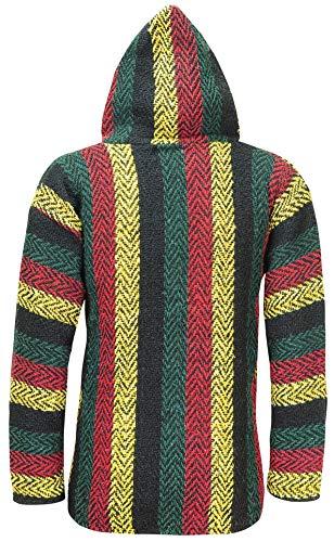 ÖLAND OUTDOORS Baja Hoodie Festival Jamaica Flag Hippie Mexican Poncho Men Women Boys Girls Drug Rug – Made in Mexico – (Texture Arrowhead Zig Zag Pullover Hoody Large, Rasta)