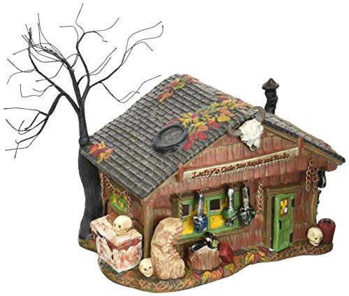 Department 56 Village Halloween Lefty's Chain Saw Repair Shop Lit House