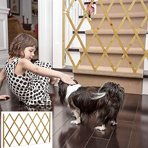 SOOTOP Rejilla para Mascotas de Madera Reja de Madera para Perros Extensible Reja para Mascotas Cerca de Reja Protectora para Puerta de La Escalera de La Casa Adecuada para Separar