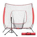 CN-WSC Red de Entrenamiento para Béisbol Practica de Softbol Red de Entrenamiento de Tubos de Acero Softball, bateo, Lanzamiento, bateo, Objetivo de Zona de Ataque (7 * 7ft)