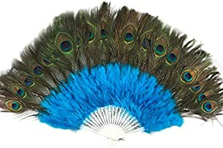JWJY Vintage Peacock Feather Chinese Fans Wedding Showgirl Dance Chinese Fan Elegant Large Feather Folding Hand Fan Decor ...