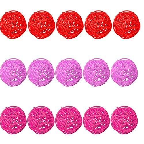 Sanfiyya Rattan de Mimbre Bolas Color múltiple de Bricolaje del llenador del florero Ornamentos de Las Bolas de ratán para hogar de la Boda decoración Colgante Style3 15PCS Patio Decoración Verano