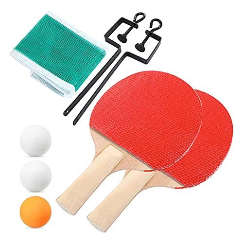WANGYA Tischtennisschläger Qualitätstisch Tennis Bat Schläger 3 Tisch Tennisbälle Lange Griff Ping Pong Paddelschläger Set mit Taschenhalterung Teleskopgitter Profi tischtennisschläger