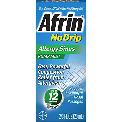 Afrin No Drip Allergy Sinus Pump Mist, Nasal Spray 1/2 oz (Pack of 3)
