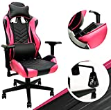 Pink Gaming Chair - Adjustable Ergonomic Pink Chair with PU Leather, Lumbar Support & 180° Recline, Easy to Assemble & Comfortable, Supports up to 330 lbs