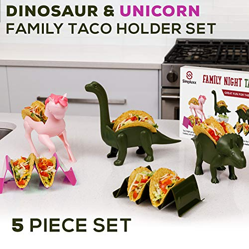 Family 5 Pack Unicorn & Dinosaur Taco Holder Set - Taco Fun For the Parents And Kids. Includes a Unicorn, Triceratops, Brachiosaurus Brontosaurus, and 2 Wave Taco Holders Great Family Value Pack!