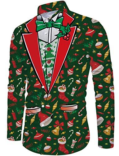 Loveternal Natalizia Camicia Uomo 3D Funky Christmas Shirt Manica Lunga Slim Fit Camicie XXL