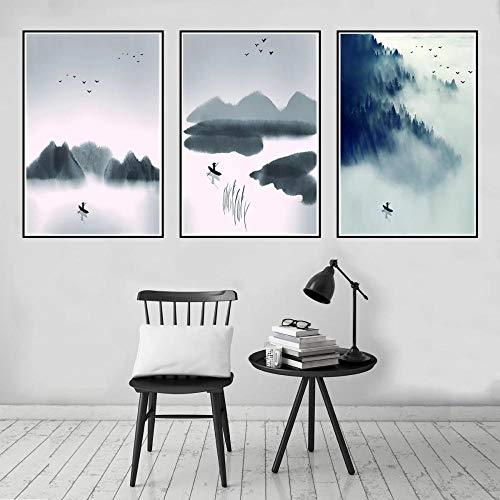 GZSBYJSWZ Pintura de Tinta China Cartel de montaña de pájaro en Bote Lienzo Impreso Pintura Arte de Pared Sala de Estar decoración del hogar sin marco-50x70cmX3