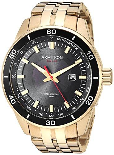 Armitron Men's 20/5289BKGP Solar Powered Date Function Gold-Tone Bracelet Watch