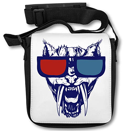 Angry Cat Wit Red And Blue Sunglasses Borsa a tracolla
