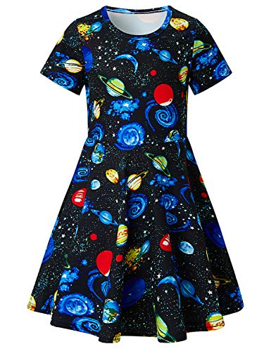RAISEVERN Toddler Girls Short Sleeve Dress Black Galaxy Universe Planet Space Pattern Dress Summer Dress Casual Swing Holiday Birthday Theme Party Sundress Toddler Kids Twirly Skirt 8-9 Years