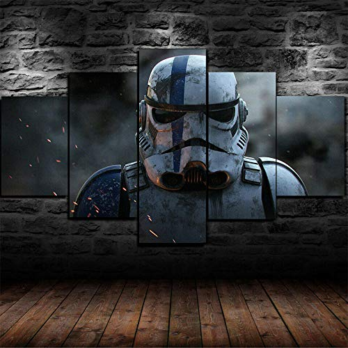 IIIUHU Bilder Abstrakt 5 Teilig Wandbild XXL Star Wars Stormtrooper Film Leinwand Bild Wandbilder Wohnzimmer Wohnung Kunstdrucke Modern Wandbilder Design Abstrakt Poster Wanddekoration