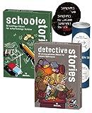 Black Stories Junior - Set: School Stories & Detective Stories + 2X Exit-Sticker + 1x optisches Täuschungsposter