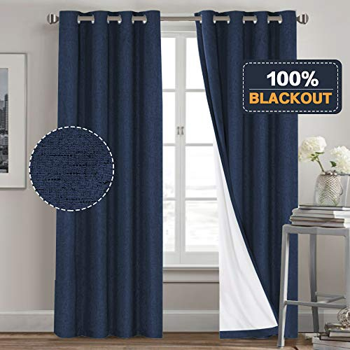 Primitive Textured Linen 100% Blackout Curtains for Bedroom/Living Room Energy Saving Window Treatment Curtain Drapes, Burlap Fabric with White Thermal Insulated Liner (52 x 96 Inch, Navy)