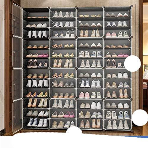 US Zapatero de gran capacidad para almacenamiento de botas de 12 cubos modulares de plástico, 6 niveles, 24 – 96 pares de zapatero, color negro, 4 x 12 niveles, Estados Unidos