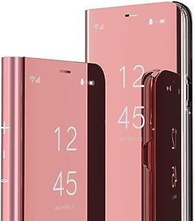 IMEIKONST Hoesje voor Samsung Galaxy A22 5G, spiegelontwerp Bookstyle make-up Clear View Window Stand Full Body Beschermen...
