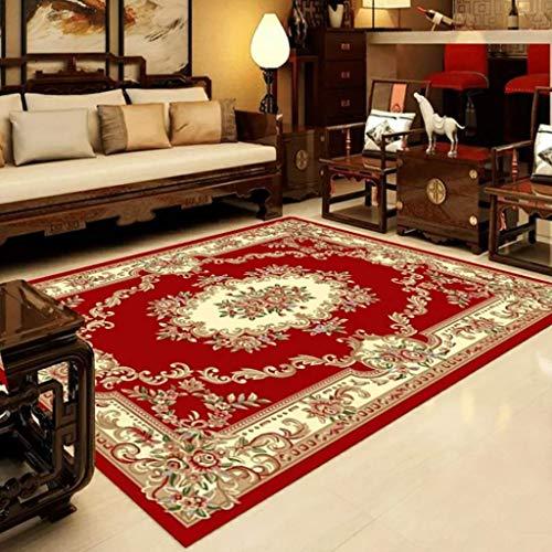 Teppich Hauptdekoration Rechteck Classic Home Art Teppich Retro Traditionelle Blumenmuster Design Soft Multifunktional für Wohnzimmer Sofa Schlafzimmer zum Entspannen Lesen Roter Teppich in verschiede