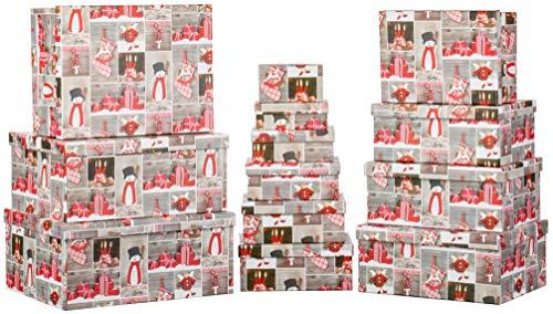 Brandsseller - Caja de cartón con tapa, estable, 13 unidades, diseño navideño, papel, Velas, calcetines, paquetes., 37,5cm x 29cm x 16cm bis 13cm x 7,5cm x 4,4cm