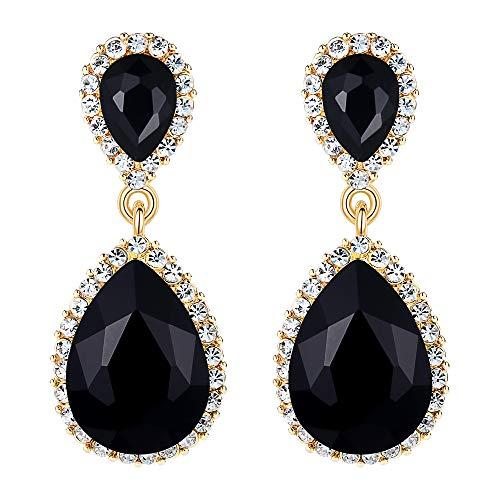 EVER FAITH Women's Austrian Crystal Wedding Tear Drop Dangle Earrings Black Gold-Tone