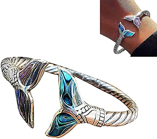 TTCPUYSA Abalone Shell and Silver Mermaid Tail Bangle Bracelet,Adjustable Open Mermaid Hand Chain Jewelry, Durable Marine Style Jewelry Valentine's Day Gift