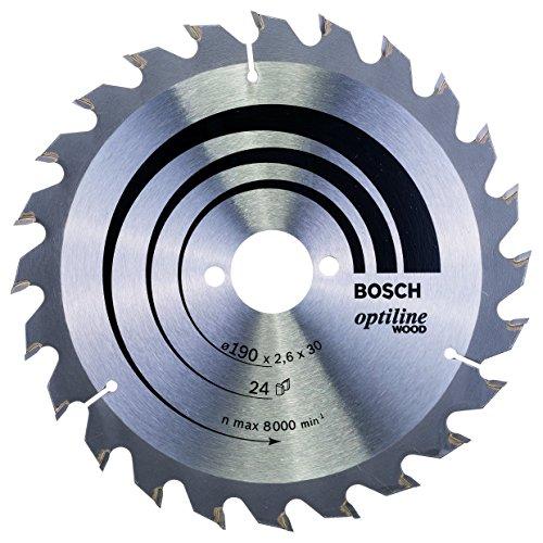 Bosch Professional Lame de Scie Circulaire, 24 Dents, 30 mm d'Alésage, 2.6 mm Largeur de Coupe, 1.6 mm Épaisseur du Corps, 190 mm Diamètre Grey 2608640615