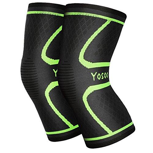 YOSOO Knee Sleeves 1 Paar, Athletic Kompression Kniebandage für Laufen, Joggen, Wandern, Basketball, Knieverletzung Schmerzen Arthritis Erleichterung, Männer & Frauen Geschenk (Größe XL)