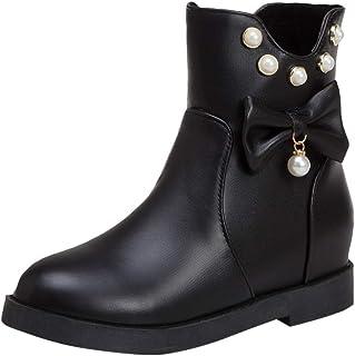 ELEEMEE Women Flat Ankle Boots Zip Sweet Bow