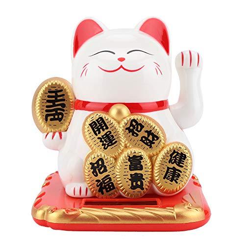 Maneki Neko, Lucky Cat, Waving Cat, Feng Shui Solar Powered Cute Waving Cat Buena Suerte Riqueza Gatos de Bienvenida Adorable Swing Lucky Beckoning Fortune Home Display(Blanco)