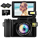 Digital Camera Vlogging Camera 2.7K 30MP Ultra HD Camera Compact Camera 4X Digital...