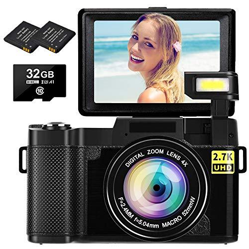 Digital Camera Vlogging Camera 2.7K 30MP Ultra HD Camera Compact Camera 4X Digital Zoom Retractable Flashlight Video Camera with 3.0 Inch Flip Screen with 32GB Micro SD Card and 2 Batteries